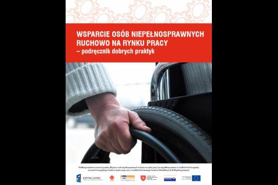 """Okładka publikacji """"Wsparcie osób niepełnosprawnych ruchowo na rynku pracy – podręcznik dobrych praktyk"""""""