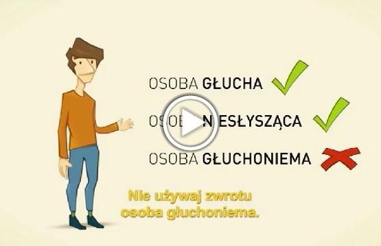 Jakich określeń używać w stosunku do osób niesłyszących - fragment filmu animowanego nt. savoir-vivre wobec osób z niepełnosprawnością