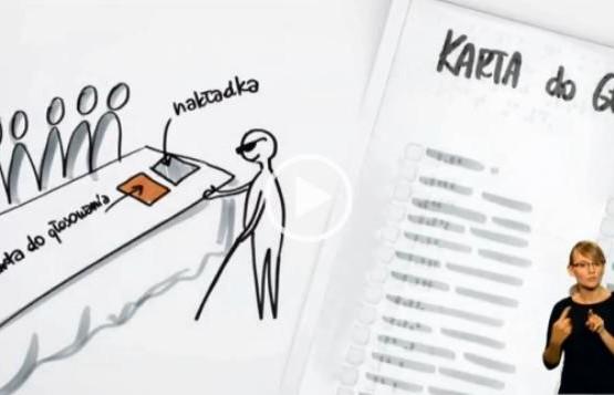Rysunek z animacji instruktażowej dotyczącej nakładki na kartę do głosowania w alfabecie Braille'a.