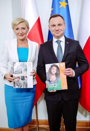 Małżonka Prezydenta RP Agata Kornhauser-Duda i Prezydent RP Andrzej Duda