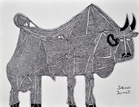 """alt=""""narysowany drobnymi czarnymi kreskami byk"""""""