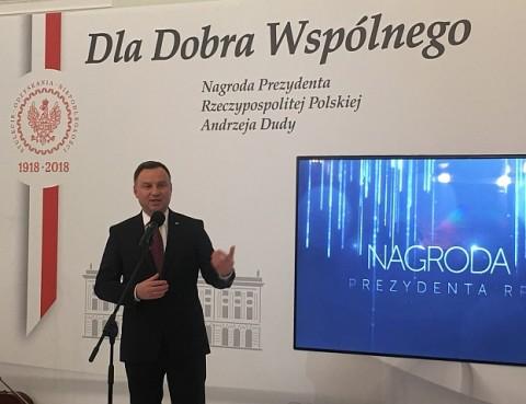 Prezydent Andrzej Duda przemawia podczas gali konkursu Dla Dobra Wspólnego