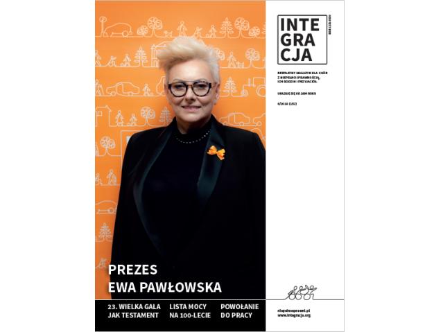 okładka 6 numeru magazynu Integracja z Ewą Pawłowską prezes Integracji